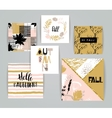 Set of artistic creative autumn cards vector image vector image