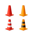 set of bright yellow and red road cones isolated vector image