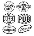 set vintage cafe pubwine bar and restaurant vector image vector image
