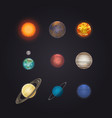 sun and solar system planets infographic vector image