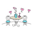 Table and chairs with hearts on white background vector image