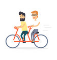 two friends on double red bicycle graphic icon vector image