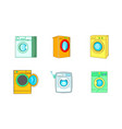 wash machine icon set cartoon style vector image