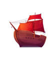 wooden boat with red sails vector image
