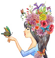 beautiful girl with flowers on her head watercolor vector image vector image