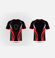 black red and white layout e sport t-shirt design vector image vector image