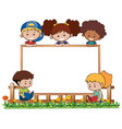 board template with five kids in garden vector image vector image