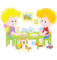 children at breakfast vector image