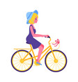 cute young girl riding yellow bike icon vector image