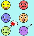 emotion faces set image vector image