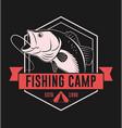 fishing camp badge with bass fish vector image
