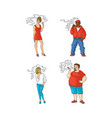 flat smoking people characters set vector image