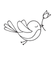 Flying bird with a flower vector image