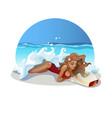 girl-on-beach-selfie vector image vector image
