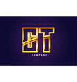 gold golden alphabet letter gt g t logo vector image vector image