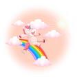happy unicorn on sky vector image