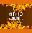 hello autumn background with falling leaves vector image vector image