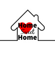 Home sweet home House Red heart Minimal card vector image
