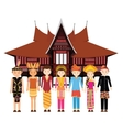 Indonesia ethnic group wearing traditional dress vector image vector image