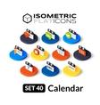 Isometric flat icons set 40 vector image vector image