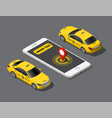 isometric online order mobile city taxi service vector image