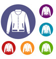 jacket icons set vector image vector image