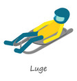 luge sport icon isometric style vector image vector image