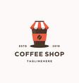modern vintage coffee shop logo coffee cup icon vector image vector image