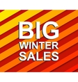 Red striped sale poster with BIG WINTER SALE text vector image vector image