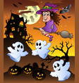 scene with halloween mansion 5 vector image vector image