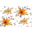 seamless floral pattern orange yellow gerbera vector image