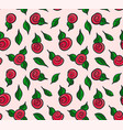 seamless pattern hand drawn red roses vector image