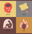 set of depression symptoms icons in flat style vector image vector image