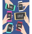 Set of hands with mobile phone smartphone and vector image