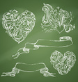 Set of romantic design elements on chalkboard vector image