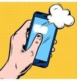 Smartphone In Hand Comic Style Design vector image vector image