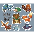 sticker set forest animals in cartoon style vector image vector image