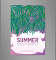 summer night party flyer or invitation template vector image vector image