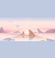 sunrise in ocean pink sky with sun at sea shallow vector image vector image