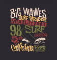 surf graphic t-shirt printing lettering design vector image
