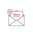 thin line 50 years anniversary logo like open vector image