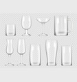 transparent drink glass cup for alcoholic drinks vector image vector image