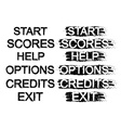 Set of video game menu buttons Grunge Black and vector image