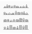 Outline buildings and trees in line 4 different vector image