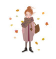 autumn fashion cartoon girl listening to music vector image vector image
