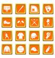 baseball icons set orange vector image vector image