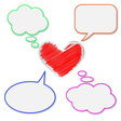 Blank bubbles and heart vector image
