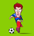 blue shirt control football cartoon vector image vector image