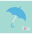 Blue umbrella Love card vector image