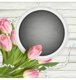 Bouquet of tulips and chalkboard EPS 10 vector image vector image